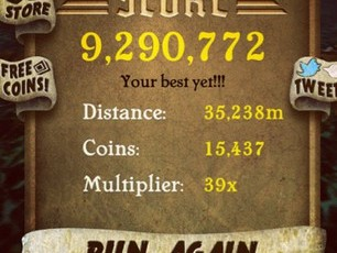 Temple Run social buzz isnt exclusive to Twitter either, check out this Instagramthink you can beat Justin Biebers high score?
